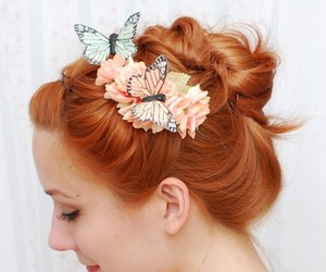 accessory, flower, and butterfly image