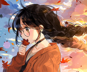 anime, anime girl, and autumn image