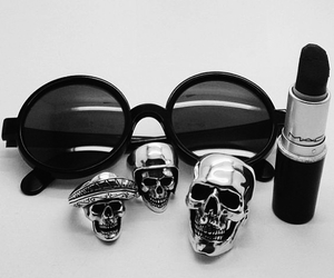 lipstick, black, and skull image