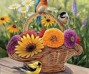 art, birds, and garden image