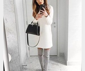 fashion, grey boots, and high tight boots image