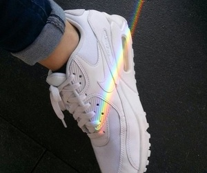 rainbow, nike, and shoes image