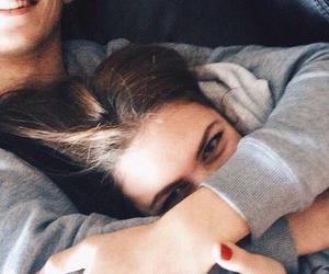 boy and girl, couple, and hug image