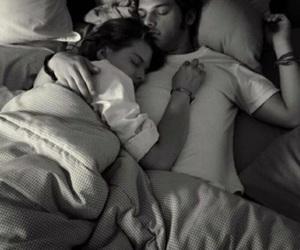bed, couple, and sleep image
