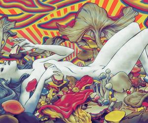 mushroom, drugs, and trippy image