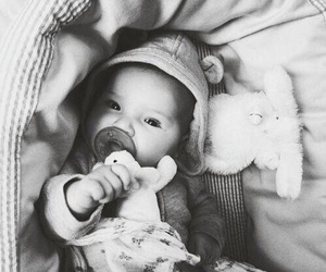 baby and black and white image