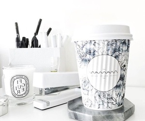 blue, white, and coffee image