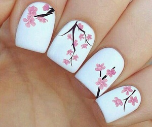 nails, flowers, and white image