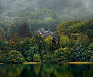 house, lake, and forest image