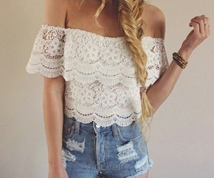 lace, long hair, and white image