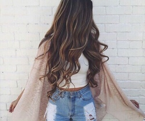 brunette, top, and wavy hair image