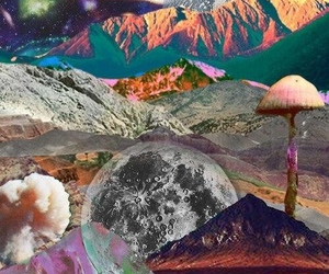 moon, psychedelic, and wallpaper image