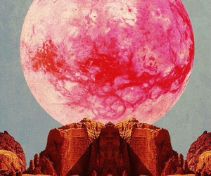 moon, pink, and psychedelic image