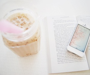 pink, book, and coffee image