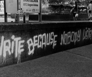 graffiti, quote, and black and white image