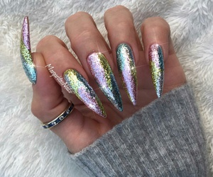 long claw nails, h, and silver rings image