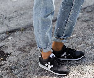 boyfriend jeans, sneakers, and casual image