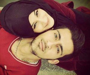 hijab, couple, and love image