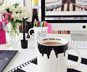 coffee, desk, and new york image