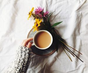 coffee, flowers, and bed image