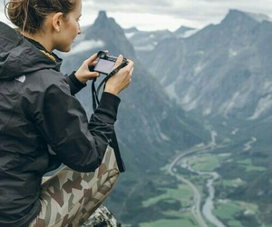 mountains, girl, and travel image