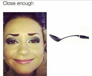 funny, eyebrows, and spoon image