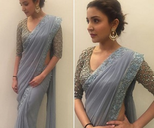 blue, anushka sharma, and saree image
