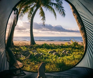 beach, sunrise, and camping image