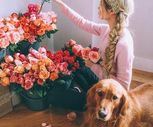 dog, flowers, and girl image