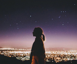 girl, night, and light image