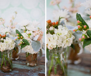 flowers, mason jars, and wedding image