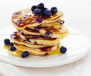 pancakes, food, and blueberry image