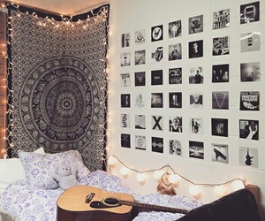 room, decoration, and guitar image
