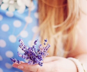 girl, nature, and lavender image