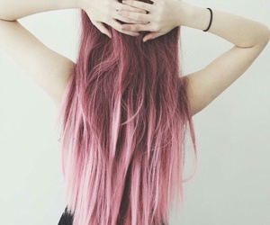 girl, pink, and ombre image
