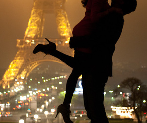 awww, couple, and eiffel tower image