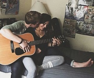 couple, love, and guitar image