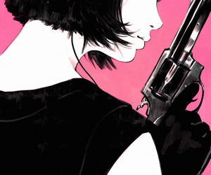 gun, art, and pink image