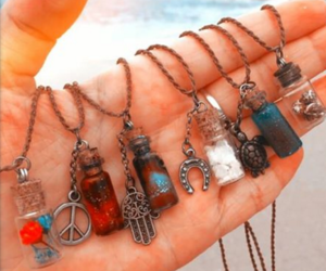 necklace, hand, and accessories image