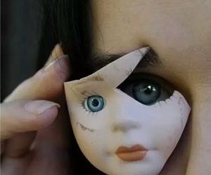 doll, eyes, and blue image