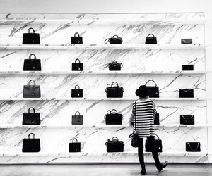 bags, stripes, and black and white image
