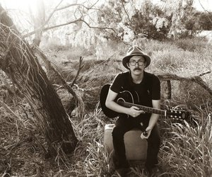 acoustic, meadow, and black and white image