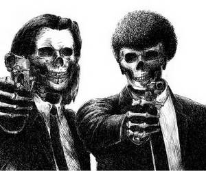 pulp fiction, skeleton, and skull image