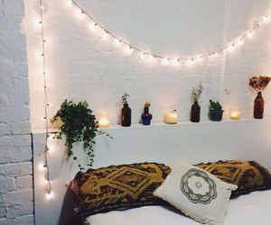 room, lights, and bed image