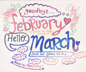 march, february, and hello image