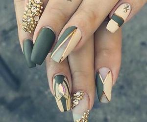 nails, gold, and green image