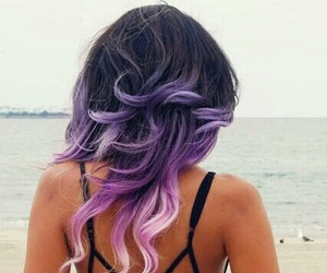 hair, beach, and purple image