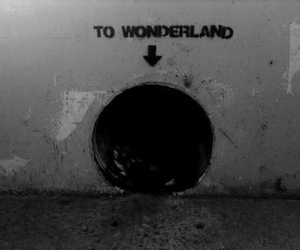 wonderland, grunge, and black and white image