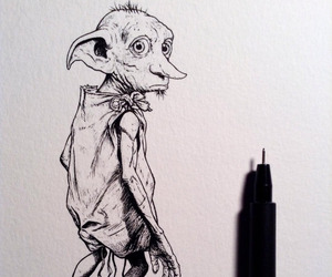 drawing, harry potter, and dobby image