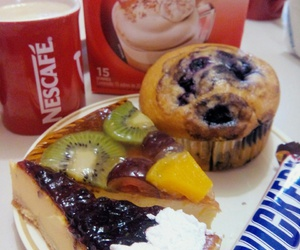 blueberry, breakfast, and nescafe image
